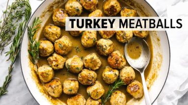 TURKEY MEATBALLS | with the MOST delicious maple mustard sauce!